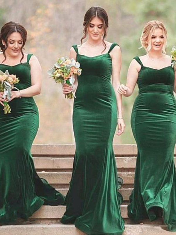 Glamorous Sheath Sweep/Brush Train Spaghetti Straps Sleeveless Velvet Bridesmaid Dress