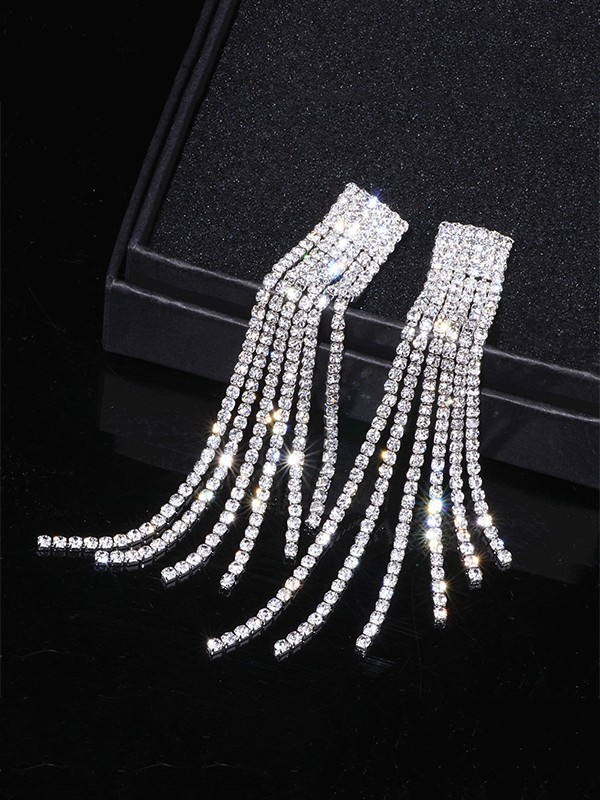 New Hot Sale Hot Sale Rhinestone Long Tassel Earrings
