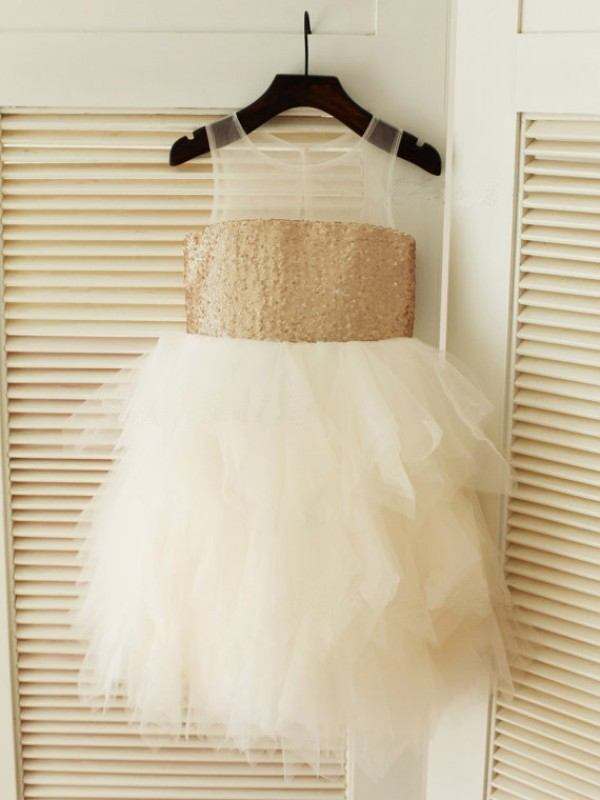 Gorgeous Ball Gown Scoop Tea-length Tulle Flower Girl Dress
