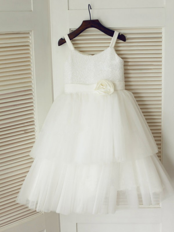 Nice A-line Spaghetti Straps Tea-length Tulle Flower Girl Dress