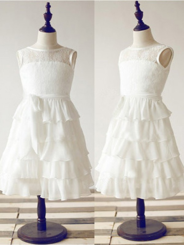 Glamorous A-line Scoop Tea-length Chiffon Flower Girl Dress