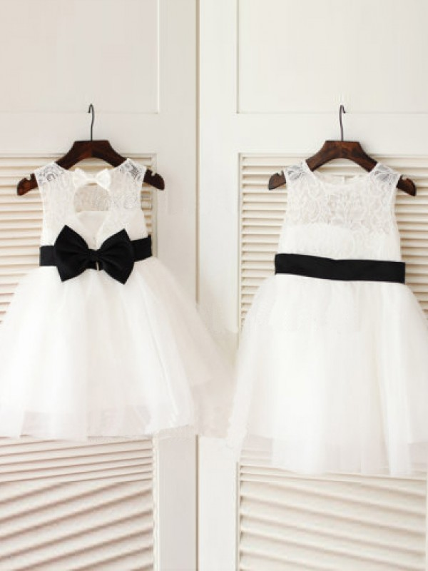 Stylish A-line Scoop Knee-Length Tulle Flower Girl Dress