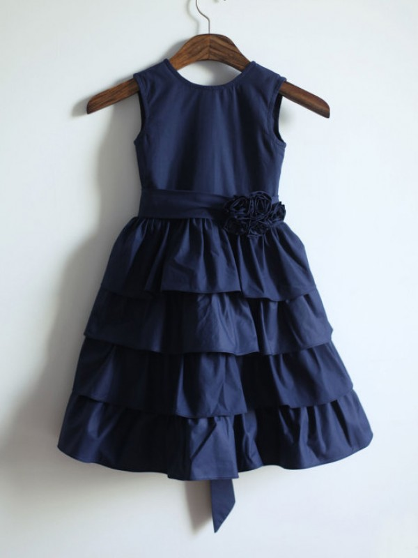 Gorgeous A-line Jewel Tea-length Taffeta Flower Girl Dress