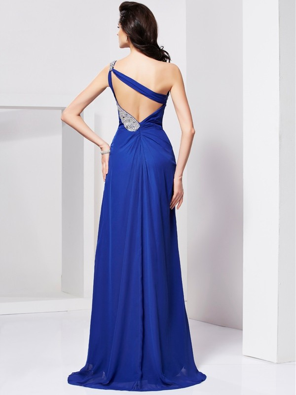 Beautiful A-Line One-Shoulder Sleeveless Long Chiffon Dress