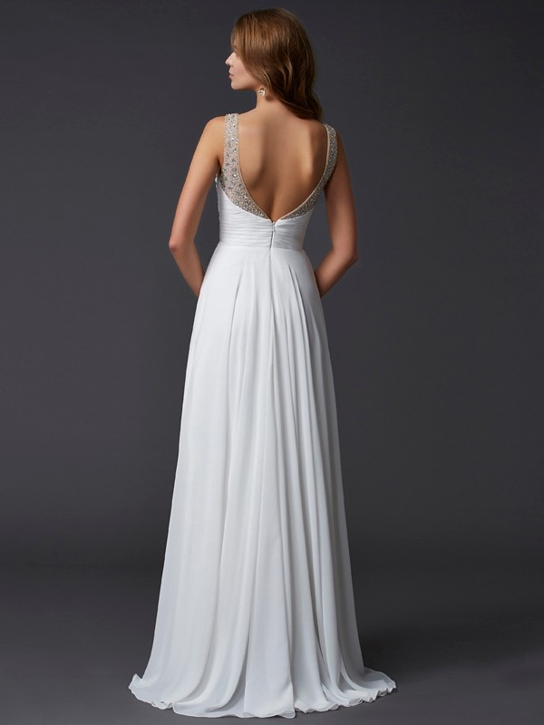 Beautiful Sheath Straps Sleeveless Long Chiffon Dress