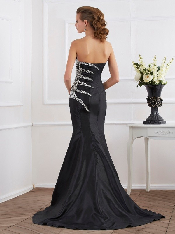 Beautiful Mermaid Strapless Sleeveless Long Taffeta Dress