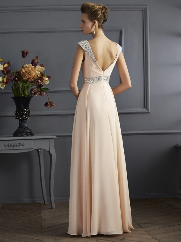 Beautiful A-Line Straps Sleeveless Long Chiffon Dress