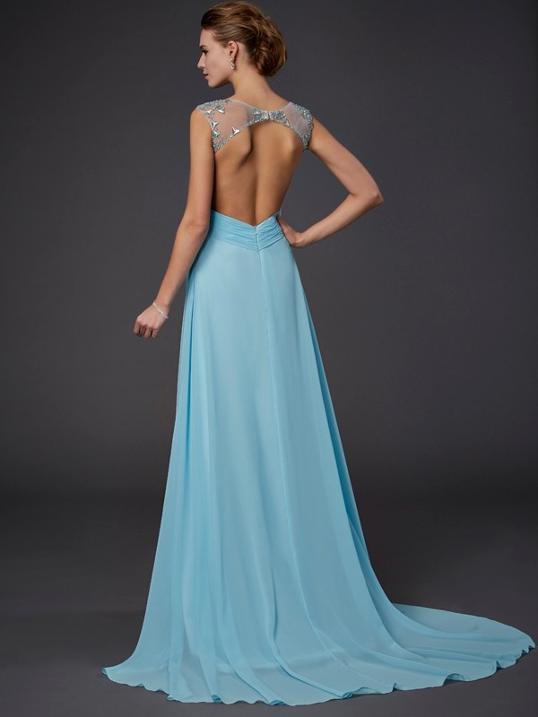 Beautiful A-Line Scoop Sleeveless Long Chiffon Dress