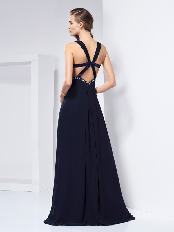 Beautiful A-Line V-neck Sleeveless Long Chiffon Dress