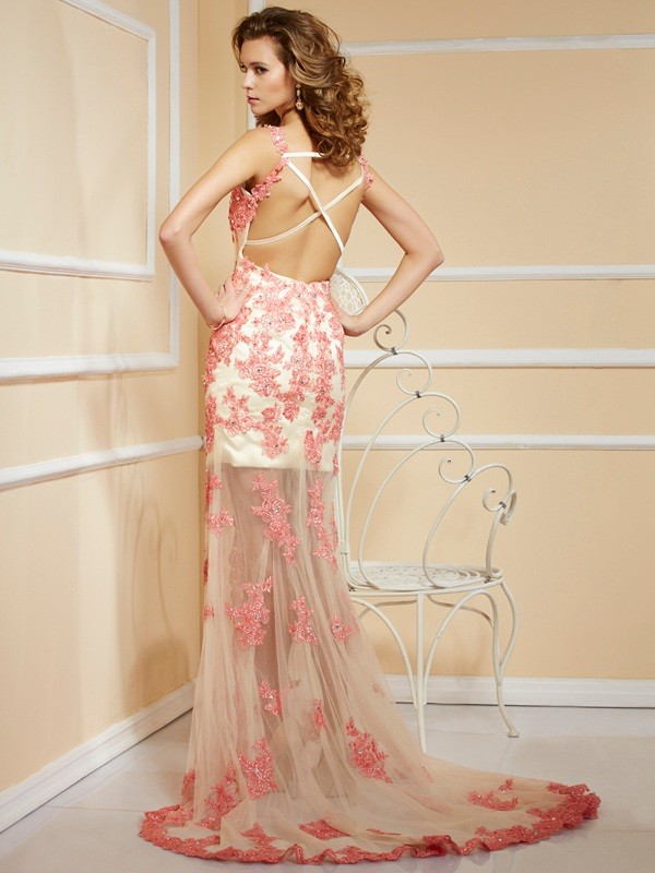 Beautiful Sheath Straps Sleeveless Long Net Dress