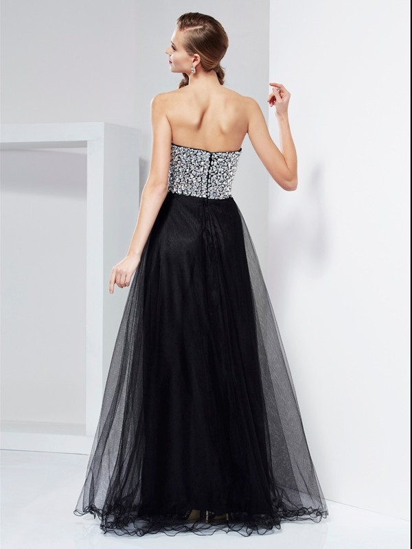 Elegant A-Line Sweetheart Sleeveless Long Elastic Woven Satin Dress