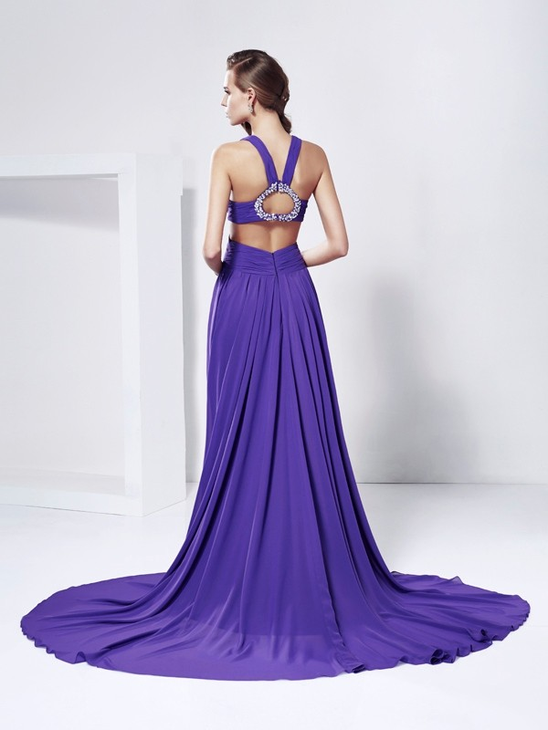 Elegant A-Line V-neck Sleeveless Long Chiffon Dress