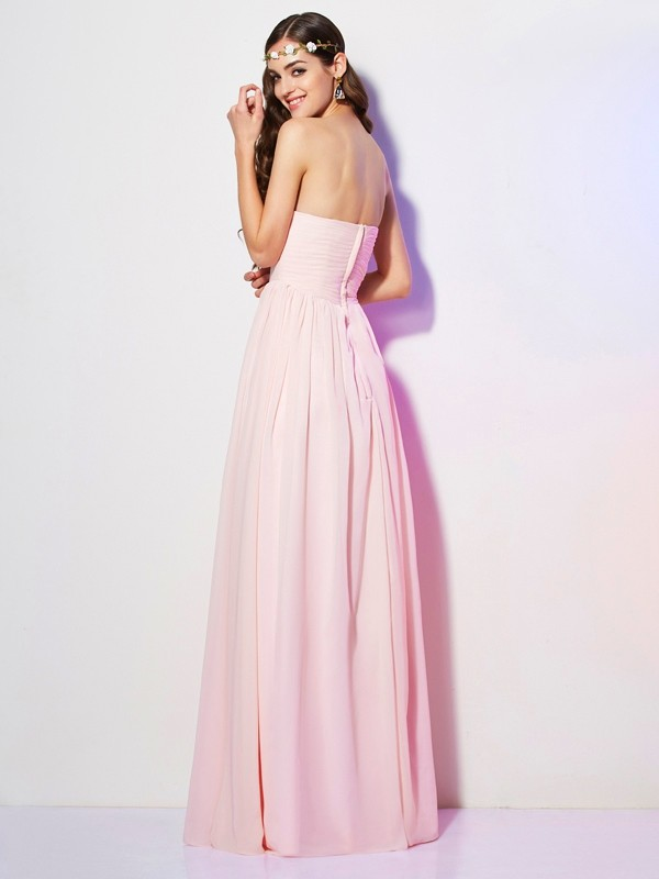 Elegant A-Line Sweetheart Sleeveless Long Chiffon Bridesmaid Dress