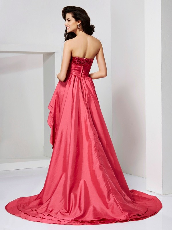 Elegant A-Line Strapless Sleeveless Lace High Low Taffeta Dress
