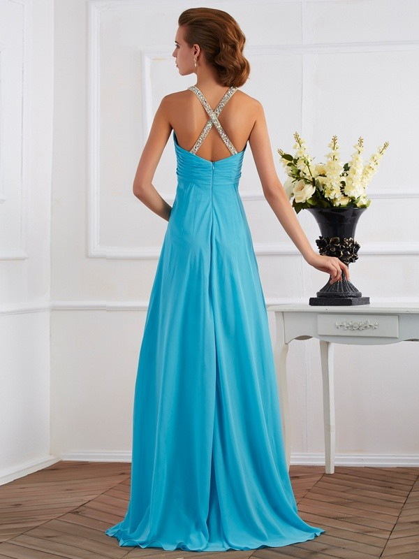 Chic Empire Halter Sleeveless Long Chiffon Dress