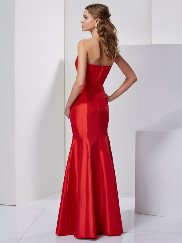 Chic Mermaid Sweetheart Sleeveless Long Taffeta Dress