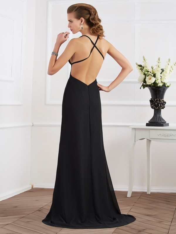 Chic A-Line Halter Sleeveless Long Chiffon Dress