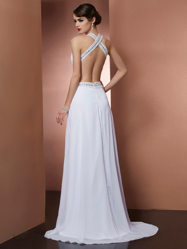 Chic A-Line Bateau Sleeveless Long Chiffon Dress