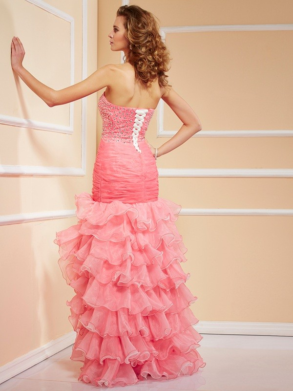 Chic Mermaid Sweetheart Sleeveless High Low Organza Dress