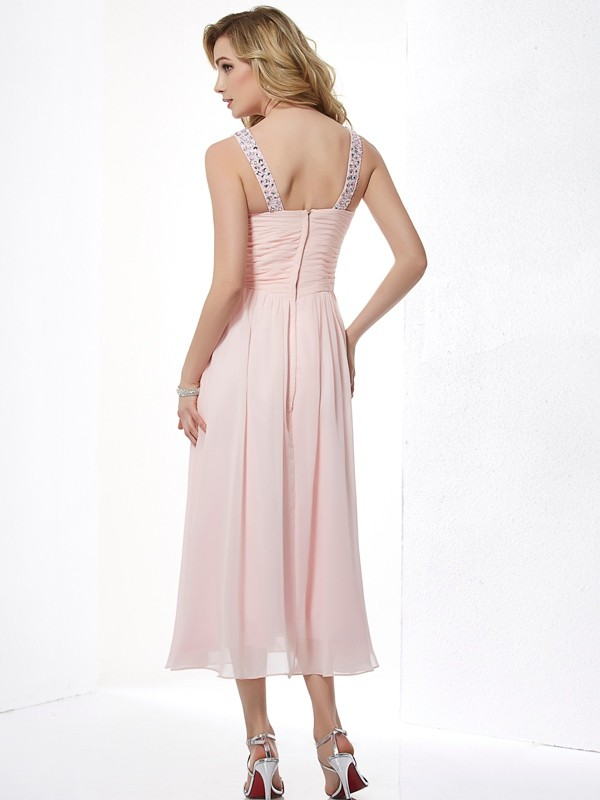 Chic A-Line V-neck Sleeveless Short Chiffon Dress