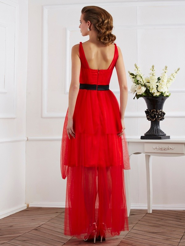 Chic A-Line Straps Sleeveless Long Elastic Woven Satin Dress
