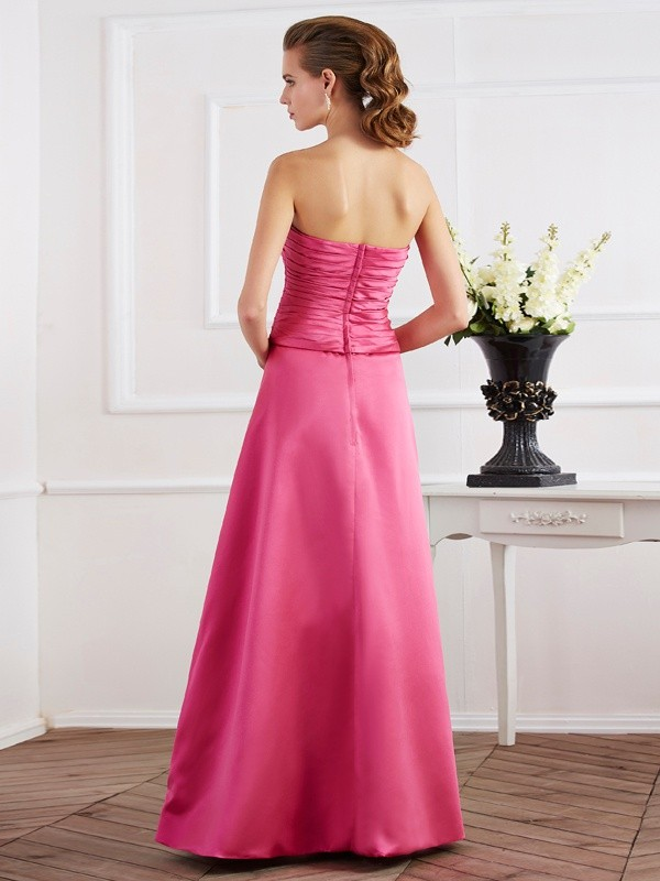 Chic Sheath Strapless Sleeveless Long Satin Dress