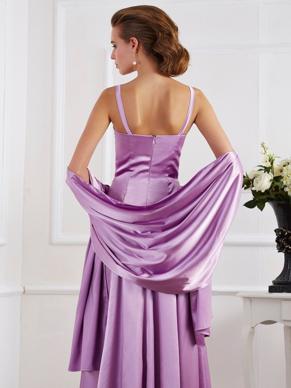 Stylish A-Line Spaghetti Straps Sleeveless Long Elastic Woven Satin Mother of the Bride Dress