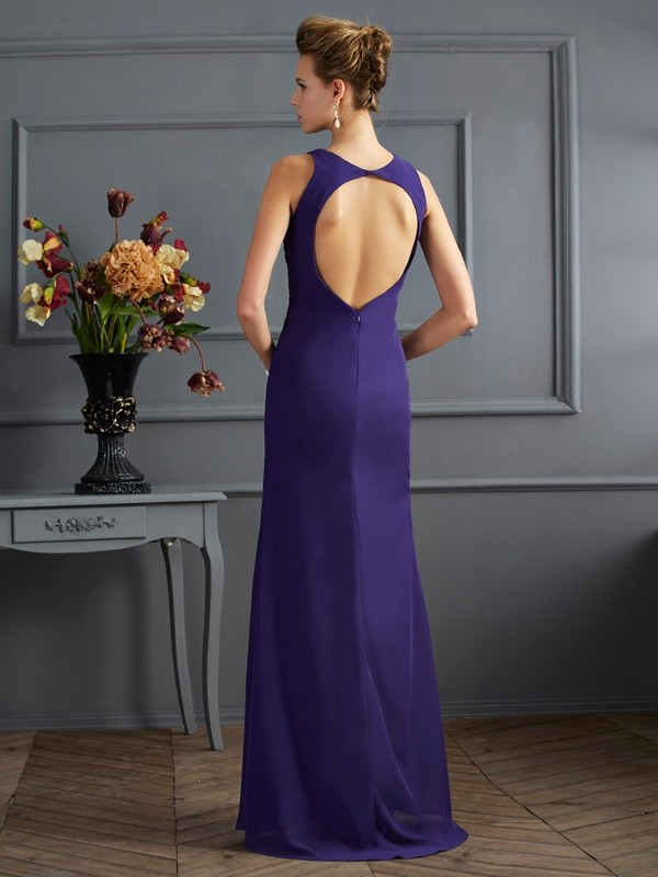 Stylish Sheath Bateau Sleeveless Long Chiffon Dress