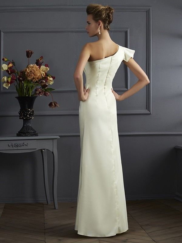 Stylish Sheath One-Shoulder Sleeveless Long Elastic Woven Satin Bridesmaid Dress