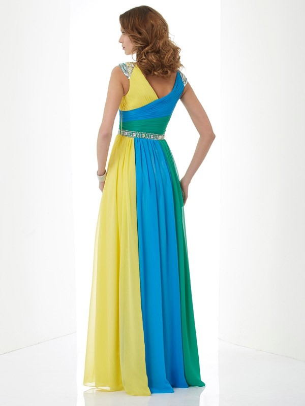 Stylish A-Line V-neck Short Sleeves Long Chiffon Dress