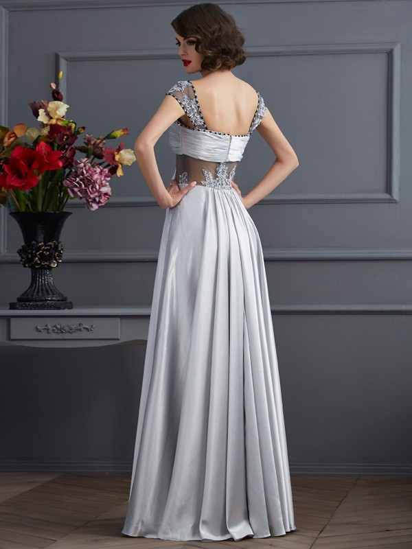 Stylish A-Line Off the Shoulder Sleeveless Long Elastic Woven Satin Dress