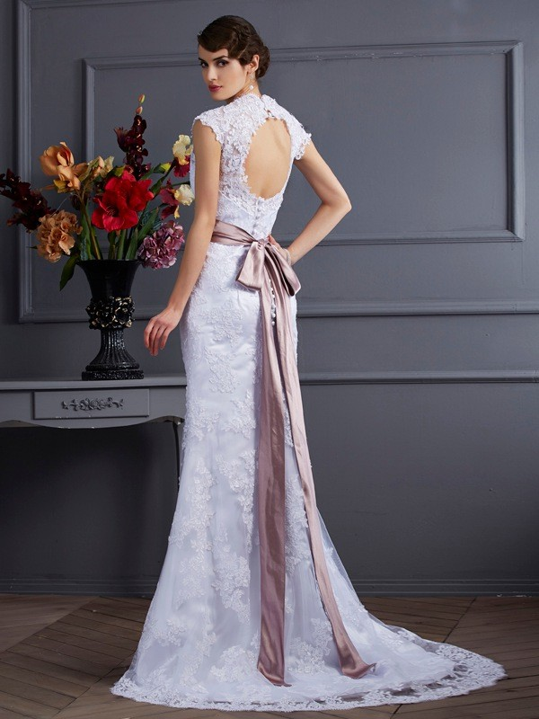 Stylish Mermaid Sleeveless Long Satin Wedding Dress