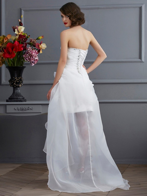 Stylish A-Line Sweetheart Sleeveless High Low Organza Wedding Dress