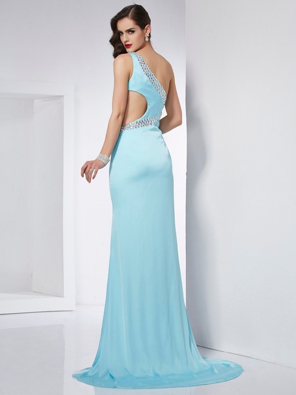 Fashion Mermaid One-Shoulder Sleeveless Long Chiffon Dress