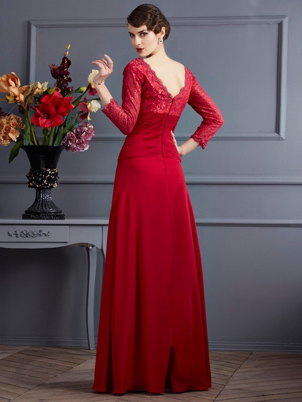 Fashion Sheath V-neck 3/4 Sleeves Lace Long Chiffon Dress