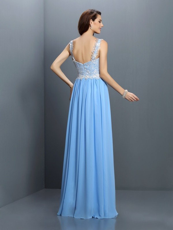 Fashion A-Line V-neck Lace Sleeveless Long Chiffon Bridesmaid Dress