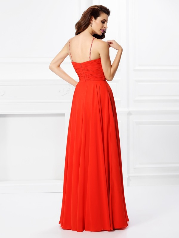 Fashion A-Line Sleeveless Long Chiffon Dress