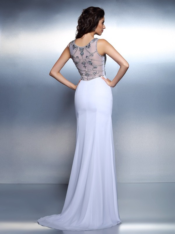 Fashion Mermaid Bateau Sleeveless Long Chiffon Dress