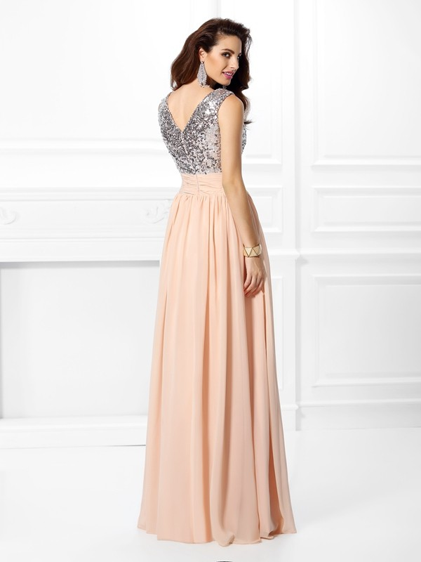 Fashion A-Line V-neck Sleeveless Long Chiffon Dress