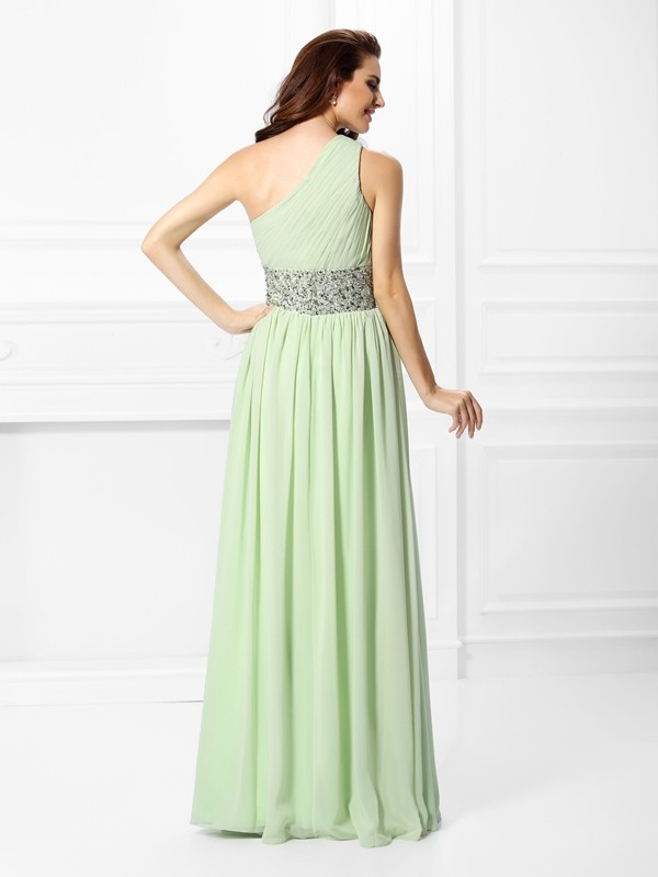 Fashion A-Line One-Shoulder Sleeveless Long Chiffon Dress