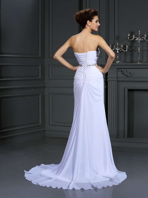 Fashion Sheath Sweetheart Sleeveless Long Chiffon Wedding Dress