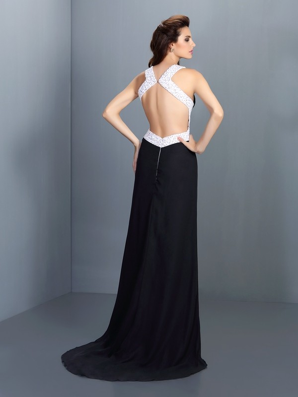 Fashion A-Line High Neck Sleeveless Long Chiffon Dress