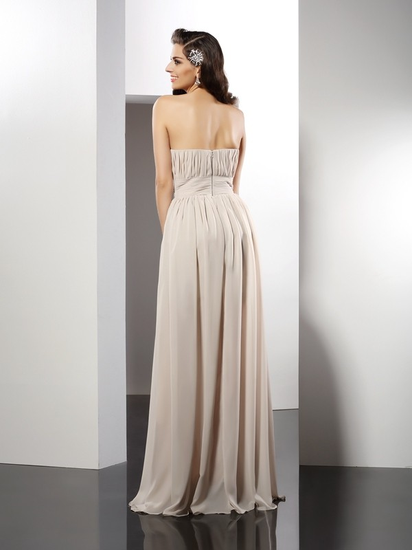 Fashion Sheath Strapless Sleeveless Long Chiffon Dress