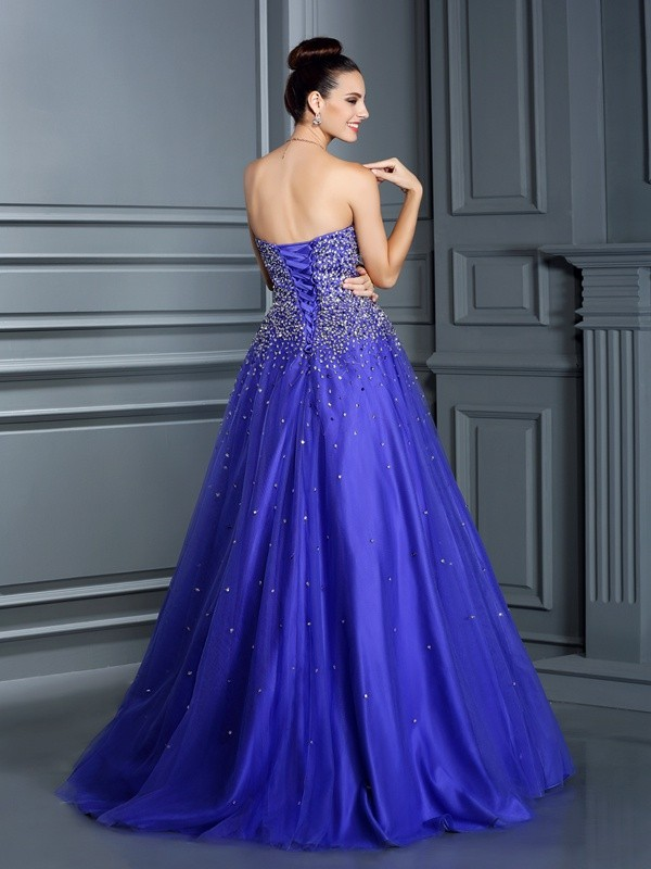 Exquisite Ball Gown Sweetheart Sleeveless Long Net Quinceanera Dress