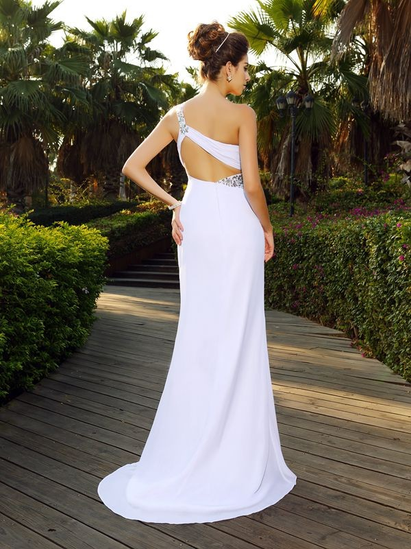 Exquisite A-Line One-Shoulder Sleeveless Long Chiffon Wedding Dress