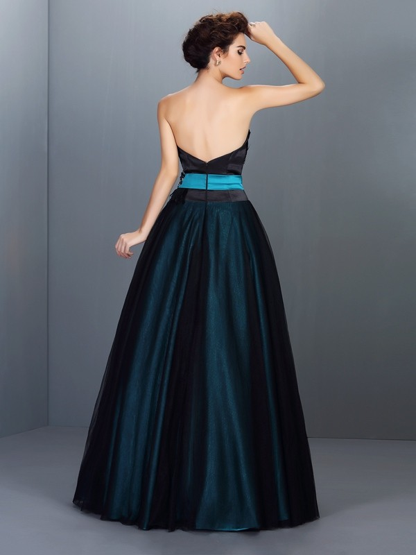 Exquisite Ball Gown Strapless Sleeveless Long Elastic Woven Satin Quinceanera Dress