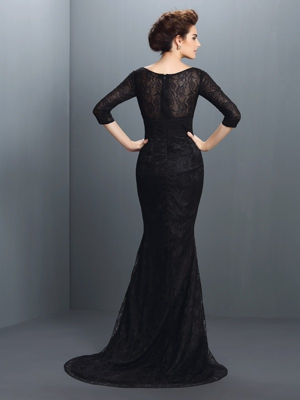 Exquisite Mermaid Bateau Lace 3/4 Sleeves Long Elastic Woven Satin Mother of the Bride Dress