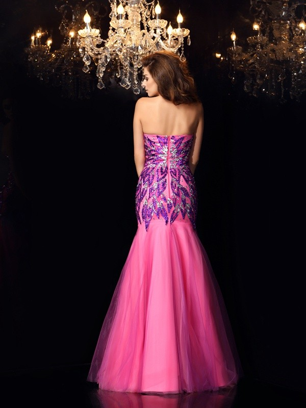 Exquisite Mermaid Sweetheart Sleeveless Long Net Dress