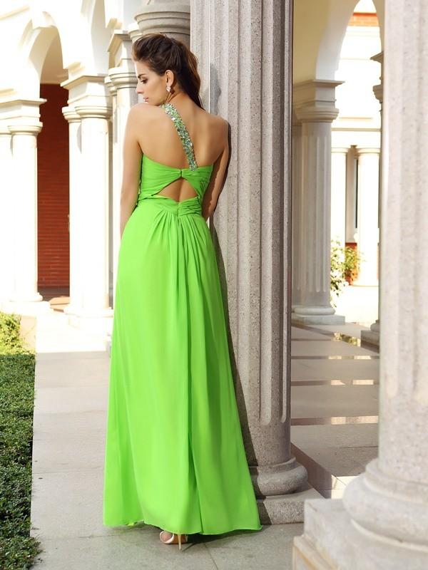 Exquisite Sheath One-Shoulder Sleeveless Long Chiffon Dress