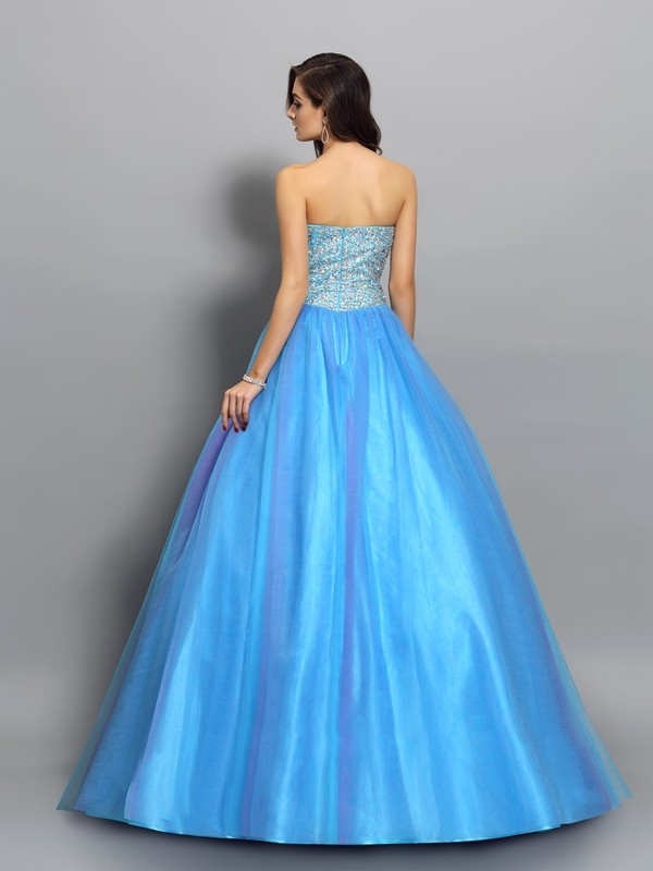Exquisite Ball Gown Sweetheart Sleeveless Long Elastic Woven Satin Quinceanera Dress